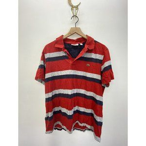 Lacoste Short Sleeve Striped Polo Shirt Red Sz XL